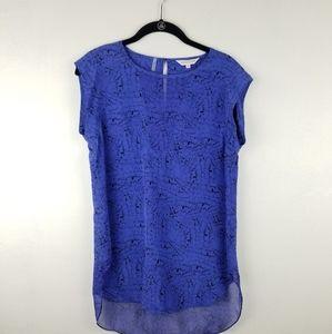 Rebecca Taylor Blue White 100% Silk Top